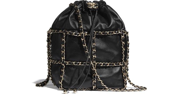 image 1 - Drawstring Bag - Lambskin & Gold Metal  - Black