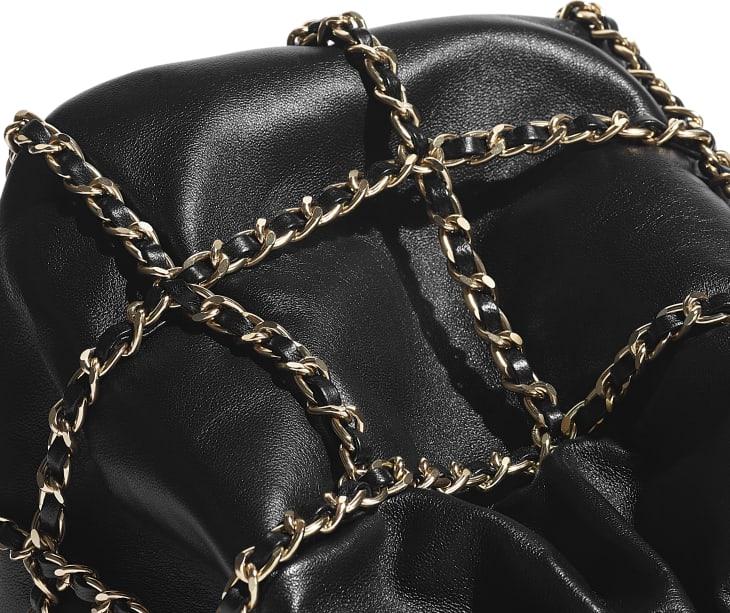 image 4 - Drawstring Bag - Lambskin & Gold Metal  - Black
