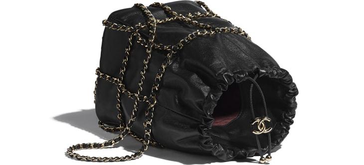 image 3 - Drawstring Bag - Lambskin & Gold Metal  - Black