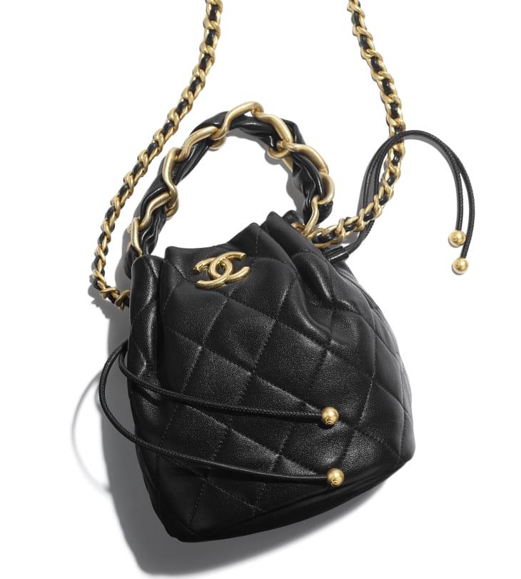 image 4 - Drawstring Bag - Shiny Lambskin & Gold-Tone Metal - Black