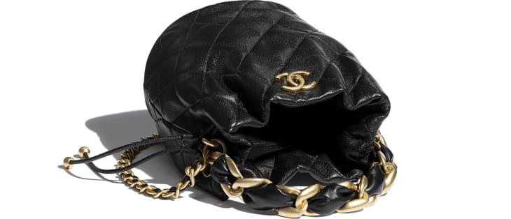 image 3 - Drawstring Bag - Shiny Lambskin & Gold-Tone Metal - Black