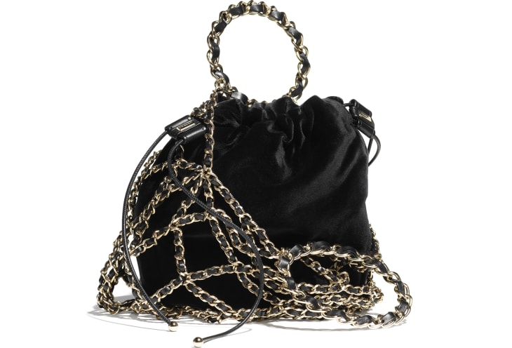 image 2 - Drawstring Bag - Velvet & Gold-Tone Metal - Black