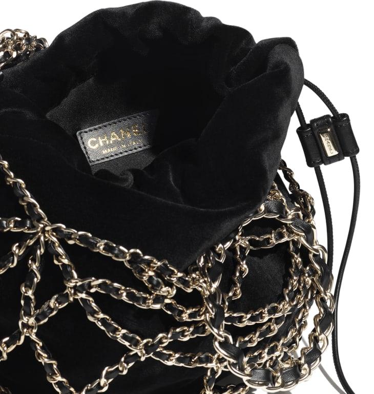 image 3 - Drawstring Bag - Velvet & Gold-Tone Metal - Black