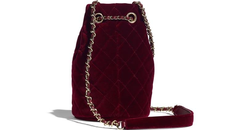 image 2 - Drawstring Bag - Velvet, Diamanté & Gold-Tone Metal - Burgundy