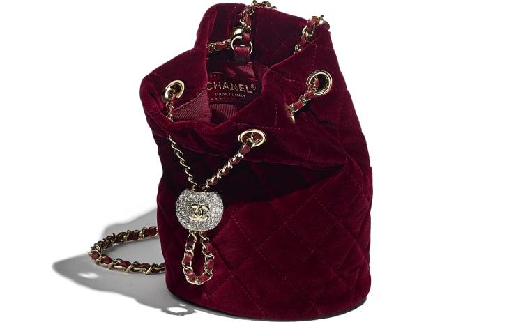 image 3 - Drawstring Bag - Velvet, Diamanté & Gold-Tone Metal - Burgundy