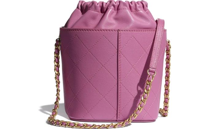 image 2 - Drawstring Bag - Grained Lambskin, Smooth Lambskin & Gold-Tone Metal - Pink