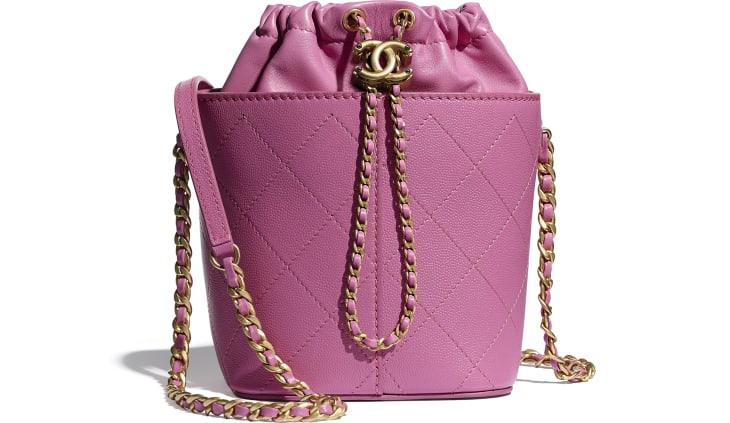 image 1 - Drawstring Bag - Grained Lambskin, Smooth Lambskin & Gold-Tone Metal - Pink