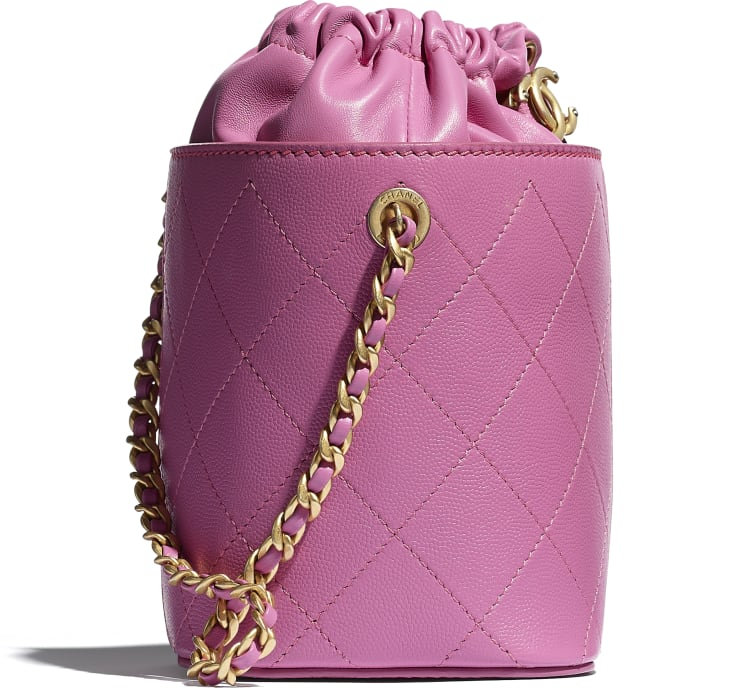 image 4 - Drawstring Bag - Grained Lambskin, Smooth Lambskin & Gold-Tone Metal - Pink