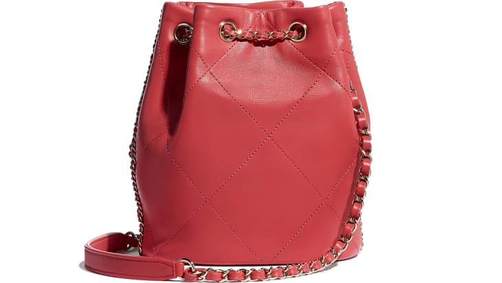 image 2 - Drawstring Bag - Lambskin & Gold Metal  - Red & Multicolor