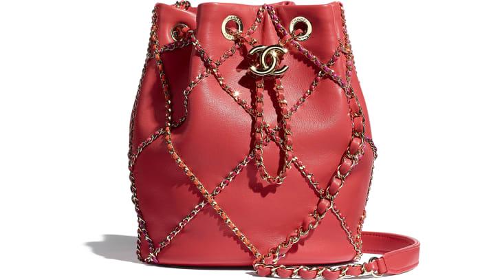image 1 - Drawstring Bag - Lambskin & Gold Metal  - Red & Multicolor