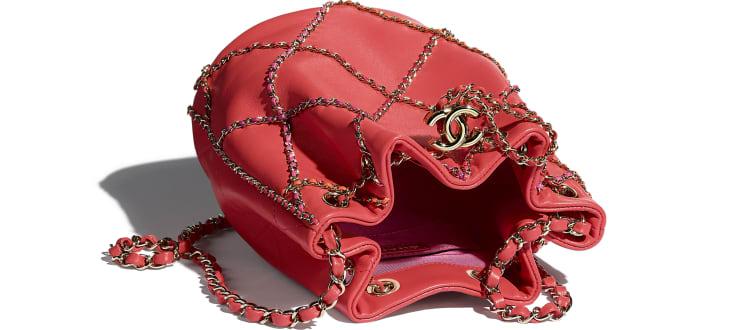 image 3 - Drawstring Bag - Lambskin & Gold Metal  - Red & Multicolor