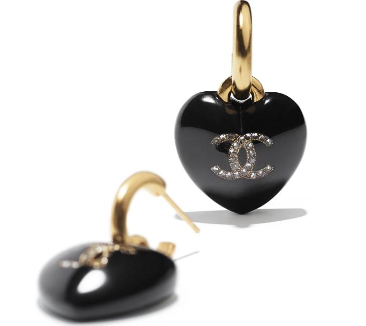 image 2 - Earrings - Resin, Strass & Metal - Black, Crystal & Gold