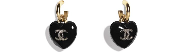 image 1 - Boucles d'oreilles - Résine, strass & métal - Noir, cristal & doré