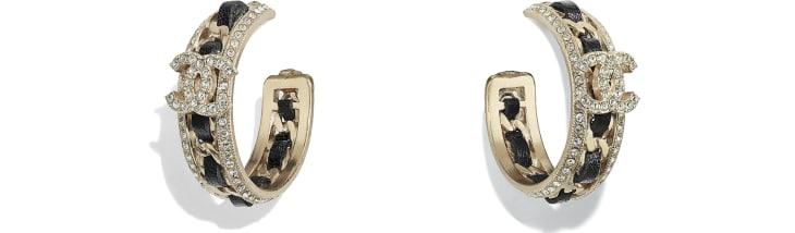 image 1 - Earrings - Metal, calfskin & diamanté - Gold, Black & Crystal