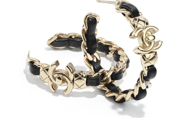 image 2 - Earrings - Metal & Lambskin - Gold & Black