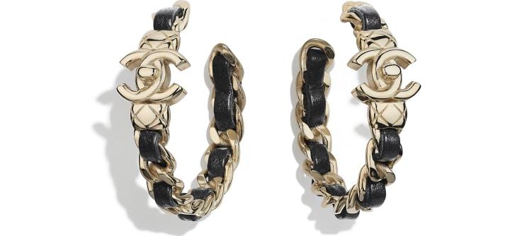 image 1 - Earrings - Metal & Lambskin - Gold & Black