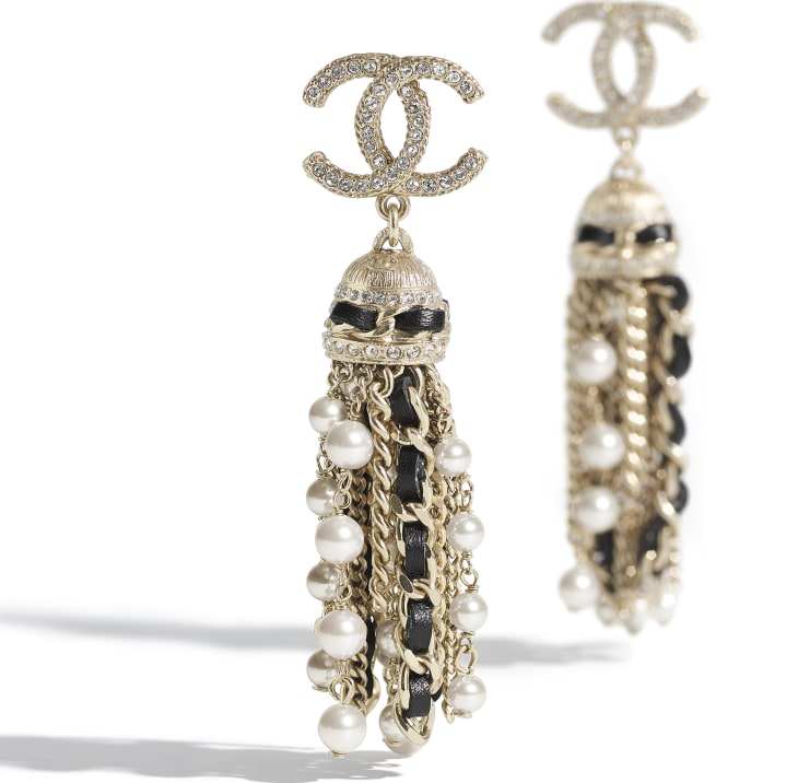 image 2 - Earrings - Metal, Calfskin, Glass Pearls & Strass - Gold, Black, Pearly White & Crystal
