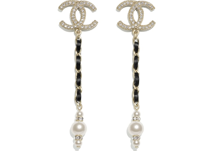 image 1 - Earrings - Metal, Calfskin, Glass Pearls & Strass - Gold, Black, Pearly White & Crystal