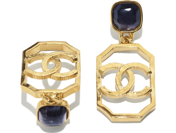 image 2 - Earrings - Metal & Natural Stones - Gold & Blue