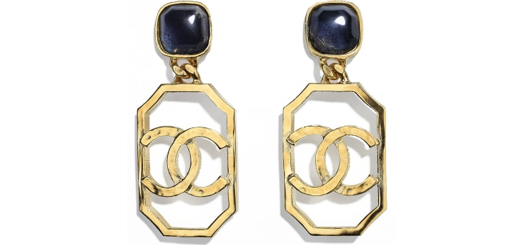 image 1 - Earrings - Metal & Natural Stones - Gold & Blue