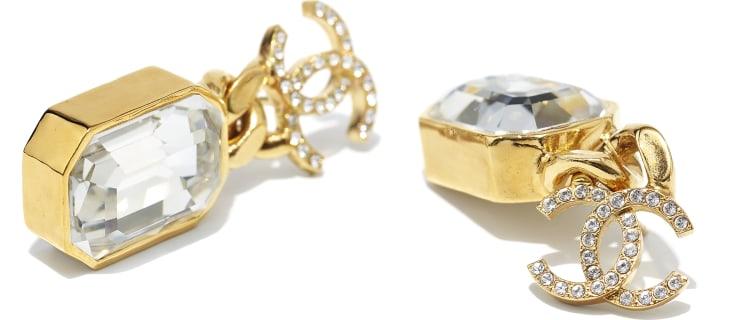 image 2 - Boucles d'oreilles - Métal & strass - Doré & cristal