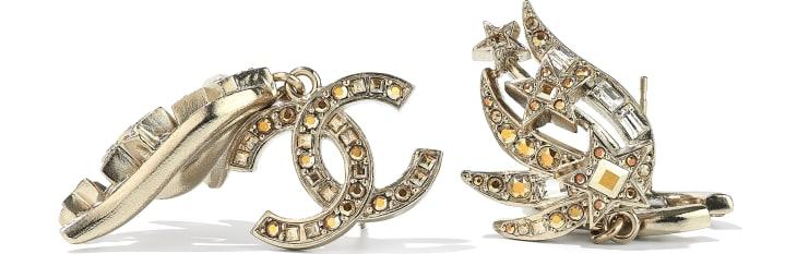 image 2 - Brincos - Metal & Strass - Dourado & Cristal