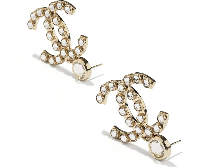 image 2 - Earrings - Metal & Strass - Gold & Crystal