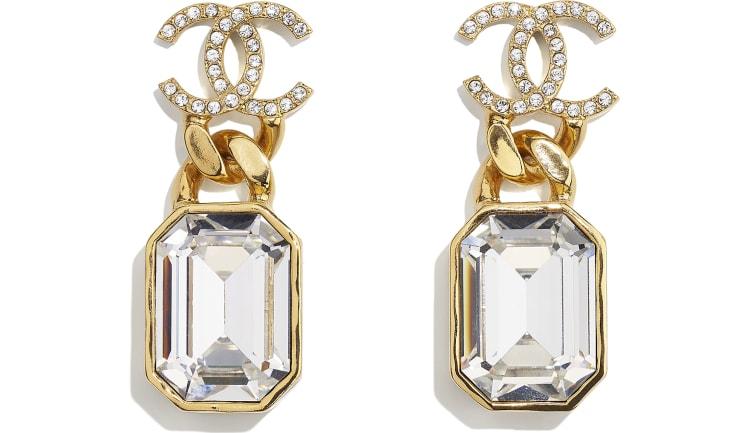 image 1 - Boucles d'oreilles - Métal & strass - Doré & cristal