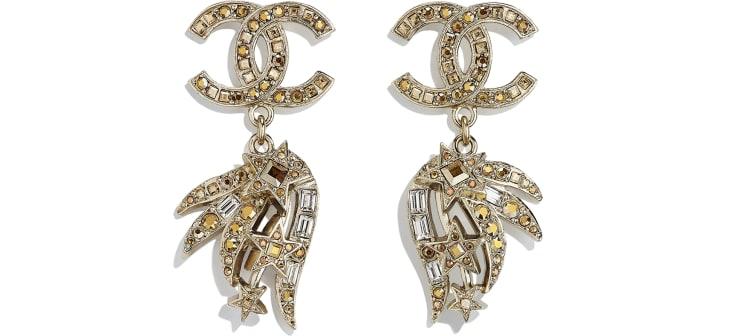 image 1 - Brincos - Metal & Strass - Dourado & Cristal