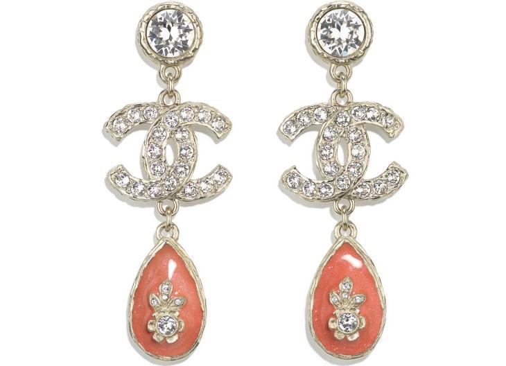 image 1 - Earrings - Metal & Strass - Gold, Crystal & Orange