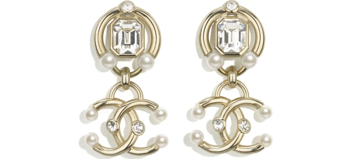 image 1 - Earrings - Metal, Strass & Imitation Pearls - Gold, Crystal & Pearly White