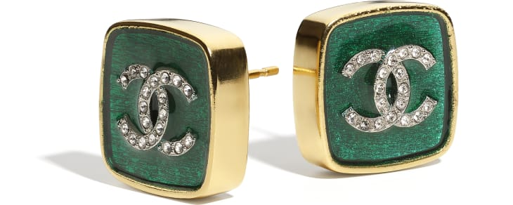 image 2 - Earrings - Metal & Strass - Gold, Green & Crystal