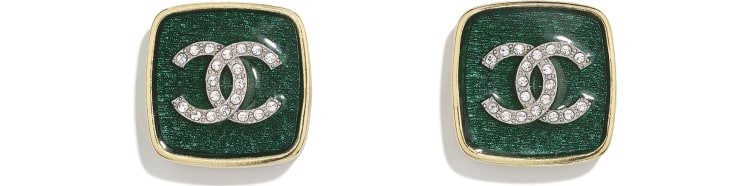 image 1 - Earrings - Metal & Strass - Gold, Green & Crystal