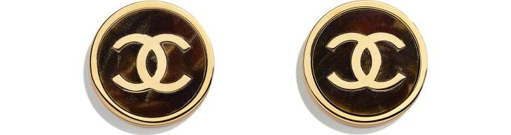 image 1 - Brincos - Metal & Resina - Dourado & Verde