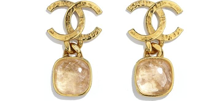 image 1 - Earrings - Metal & Natural Stones - Gold