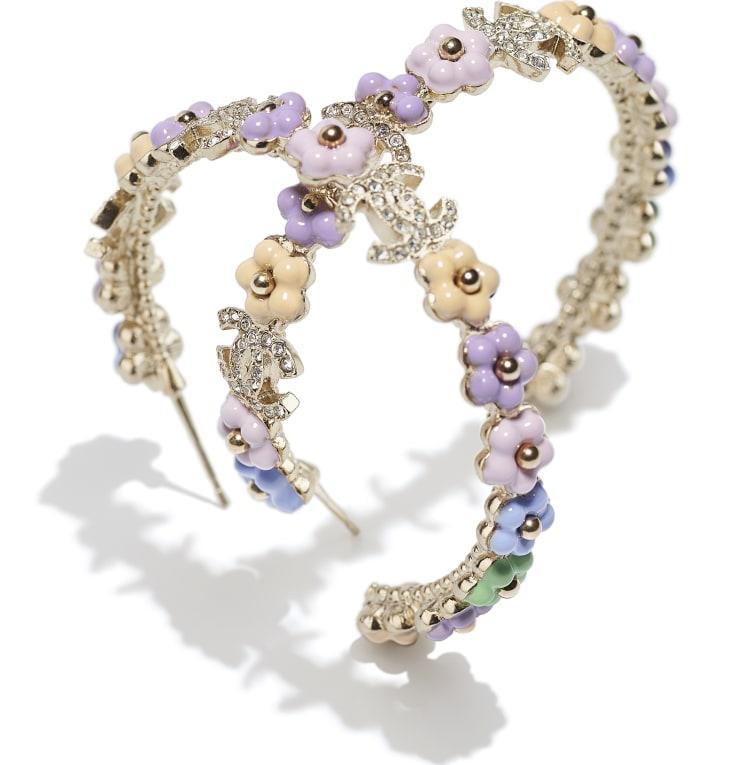 image 2 - Boucles d'oreilles - Métal & strass - Doré, multicolore & cristal