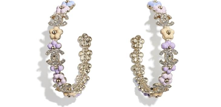 image 1 - Boucles d'oreilles - Métal & strass - Doré, multicolore & cristal