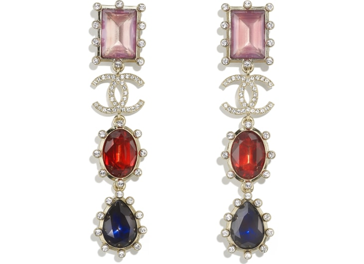 image 1 - Earrings - Metal & Strass - Gold, Multicolor & Crystal