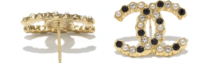 image 2 - Earrings - Metal, Glass Pearls & Diamantés - Gold, Pearly White, Black & Crystal