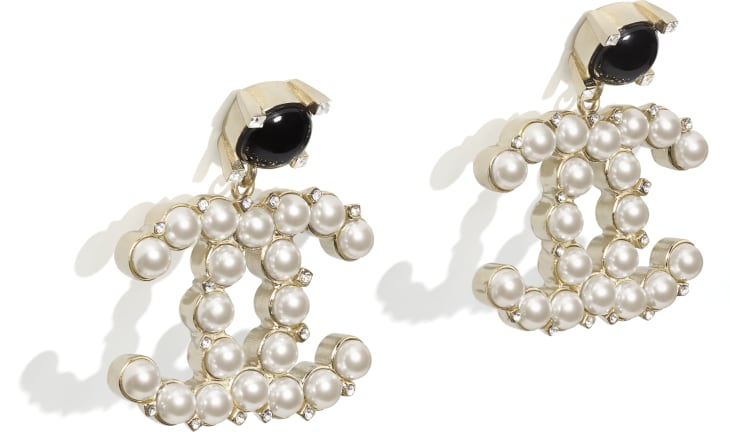 image 2 - Earrings - Metal, Glass Pearls & Strass - Gold, Pearly White, Black & Crystal