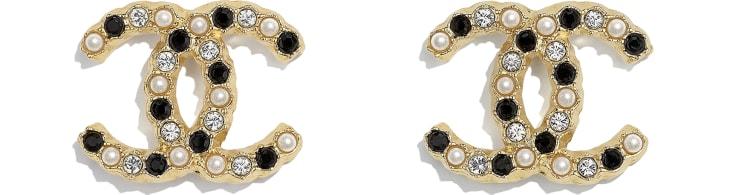 image 1 - Brincos - Metal, Pérolas De Vidro & Strass - Dourado, Branco Perolado, Preto & Cristal