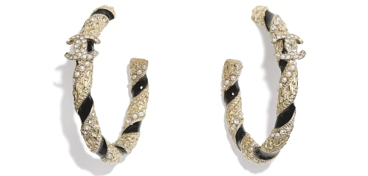 image 1 - Earrings - Metal, Glass Pearls & Diamantés - Gold, Pearly White, Black & Crystal