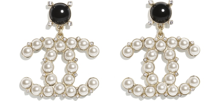 image 1 - Earrings - Metal, Glass Pearls & Strass - Gold, Pearly White, Black & Crystal