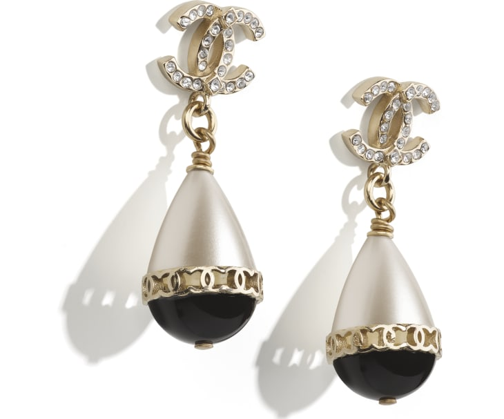 image 2 - Earrings - Metal, Imitation Pearls & Strass - Gold, Pearly White, Black & Crystal