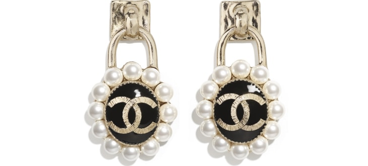 image 1 - Earrings - Metal & Glass Pearls - Gold, Pearly White & Black