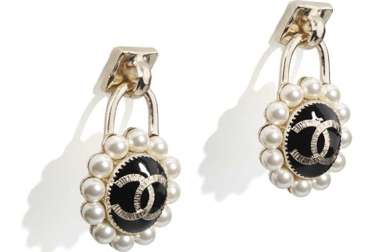 image 2 - Earrings - Metal & Glass Pearls - Gold, Pearly White & Black