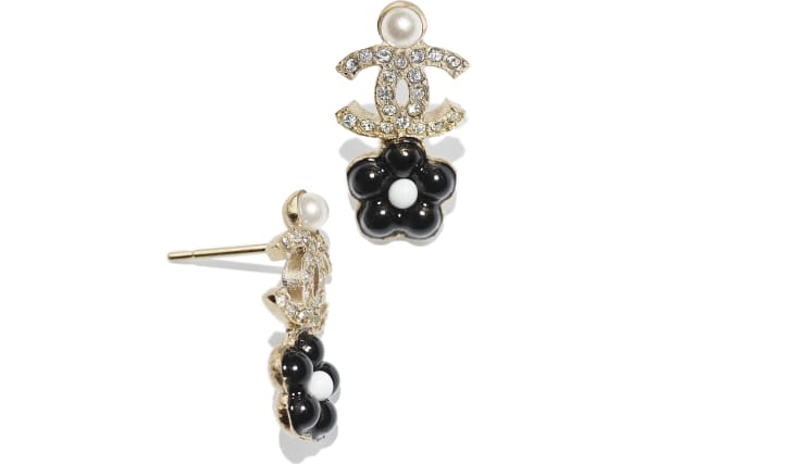image 2 - Earrings - Metal, Glass Pearls & Strass - Gold, Pearly White, Crystal & Black