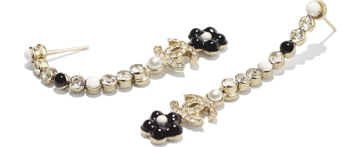 image 2 - Earrings - Metal, Glass Pearls & Diamantés - Gold, Pearly White, Crystal & Black