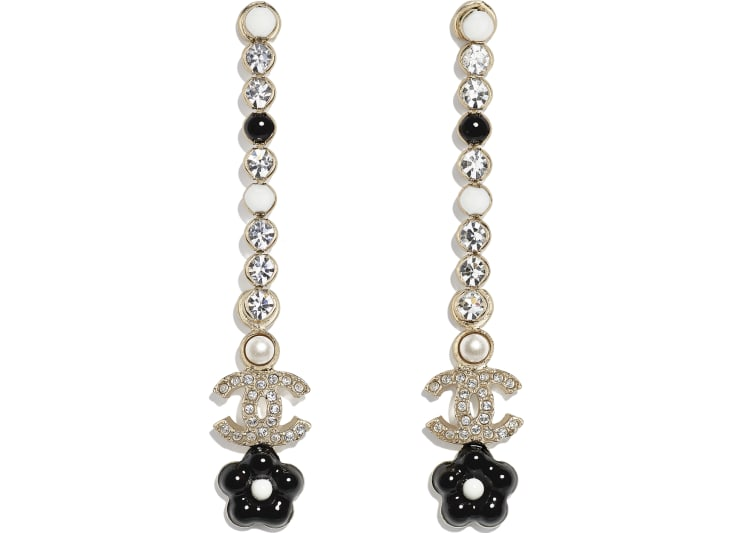 image 1 - Earrings - Metal, Glass Pearls & Strass - Gold, Pearly White, Crystal & Black