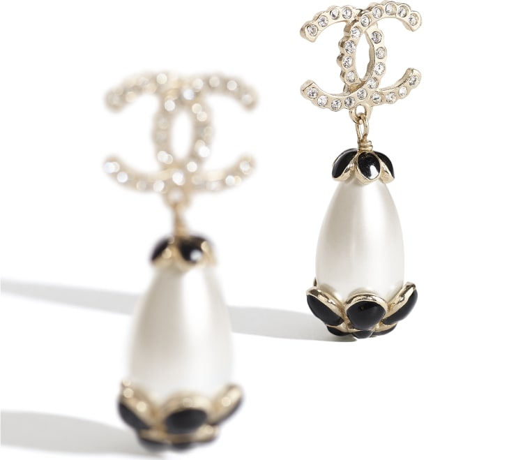 image 2 - Earrings - Metal, Strass & Resin - Gold, Pearly White, Crystal & Black